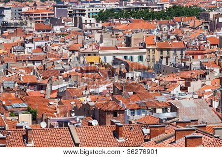 City Panorama Of Perpignan, France