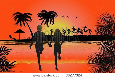 Jumping in sunset at beach, tropical backgrounds