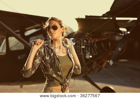 Fashion Female Airplane Mechanic