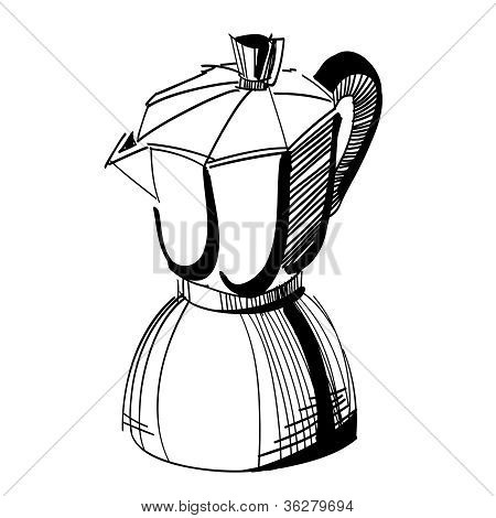 Black And White Sketch Of Mocha Coffee Maker