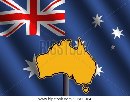 Australia Map Sign With Flag