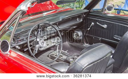 Interior Of A 1960's Red Ford Mustang