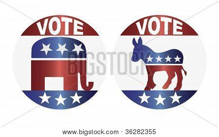 Voto republicano e democrata botões ilustração