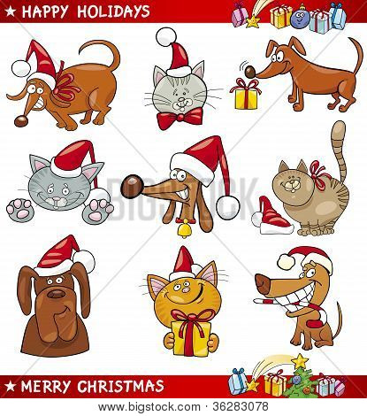 Cartoon Set Of Christmas Cats And Dogs