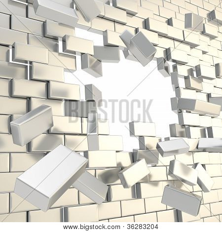 Broken Into Pieces Brick Wall With A Copyspace Hole