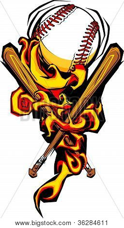 Softball Baseball Ball And Bats Flaming Cartoon Illustration