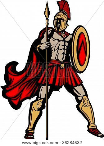 Spartan Mascot Body With Spear And Shield Vector Illustration