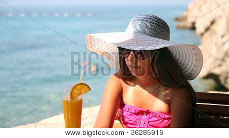 Summer Teen Girl With Elegant Hat