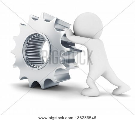 3d white people pushes a gear