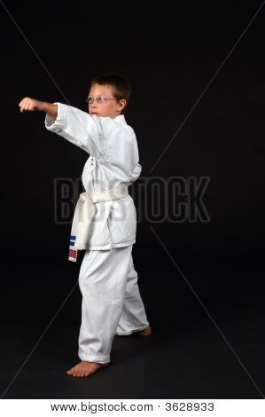 Traditional Karate Student Demonstrating Left Stance And A Punch