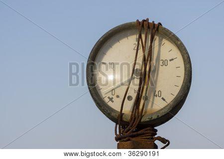 Old Pressure Meter Close Up