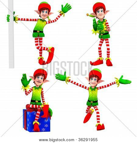 elves dancing around gift