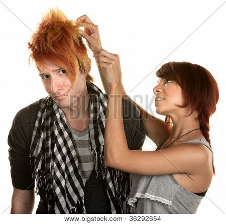 Lady Working With Man's Hair