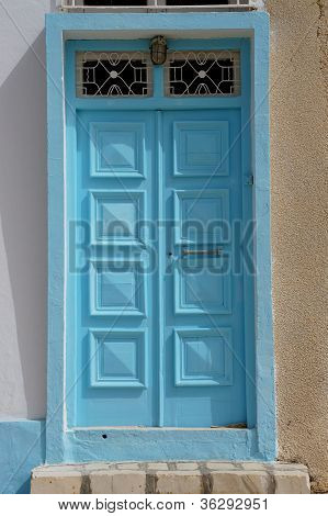 Blue door in the architecture of Tunisia
