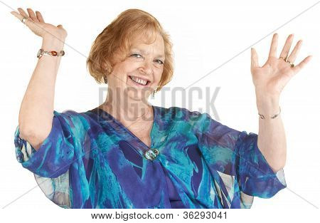 Laughing Woman With Hands Up