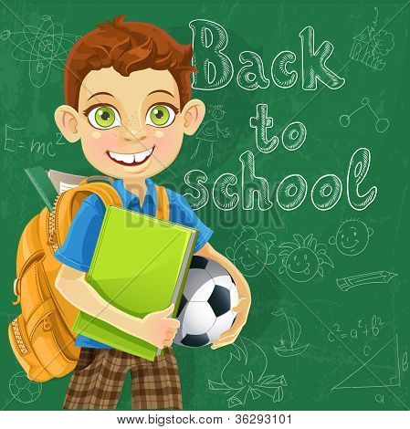Banner - Back to school - boy with backpack at the board ready to learn