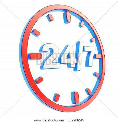 24/7 24 Stunden sieben Tage ein Woche-Wappen-Symbol