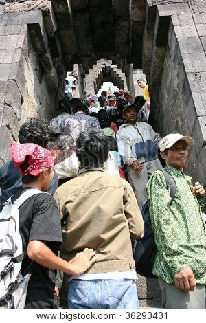 crammed up the stairs at Borobudur temple