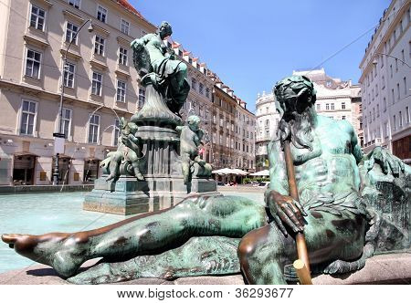 The Donner Fountain (donnerbrunnen) In Neuer Markt In Vienna, Au