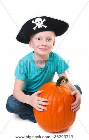 Pirate With Pumpkin - Halloween Theme