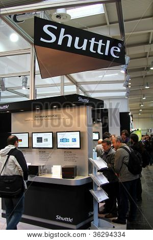 HANNOVER - MARCH 10: stand of Shuttle on March 10 2012 at CEBIT computer expo Hannover Germany