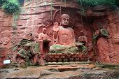 image of emei  - Statues near the wall in Emei shan China - JPG