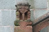 picture of emei  - Stone elephant near wall in buddhist temple China - JPG