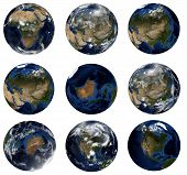 Nine Earth Globes Isolated On White