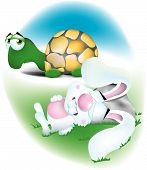 stock photo of nursery rhyme  - the tortoise and the hare during their infamous race when the rabbit is napping and the turtle passes him by - JPG