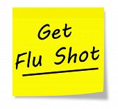 stock photo of flu shot  - Get Flu Shot written on a yellow square sticky note pad - JPG