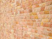 picture of trapezoid  - pattern color of modern style design decorative red slate stone wall surface with cement in trapezoid shape - JPG