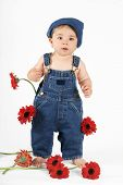 foto of country girl  - standing nine mth old baby girl wearing a bib n brace denim overalls - JPG