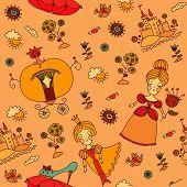 picture of cinderella  - seamless pattern background  - JPG