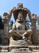 picture of lakshmi  - Lakshmi Narasimha a sculpture at the Sacred Center around Hampi a city located in Karnataka South West India - JPG