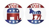 stock photo of donkey  - Vote Republican Elephant and Democrat Donkey Buttons Illustration - JPG