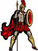 stock photo of spartan  - Greek Spartan or Trojan Soldier Mascot holding a Shield and Spear - JPG