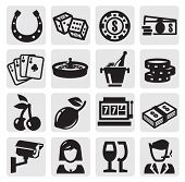 picture of poker machine  - vector black casino icons set on gray - JPG