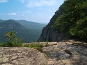 picture of gneiss  - View towards valley of Lake Lure from cliffs along upper path at Chimney Rock State Park North Carolina - JPG