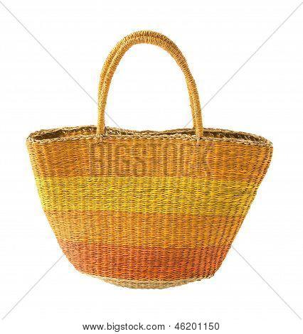 Striped Yellow Orange Basket Tote