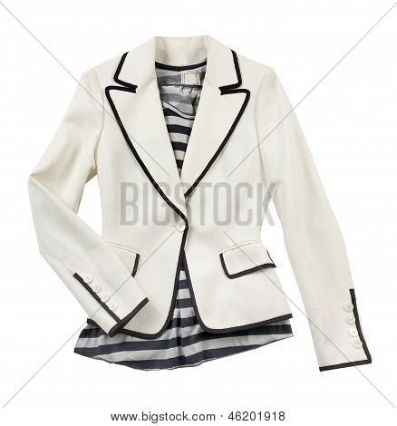 White Blazer With Striped T Shirt