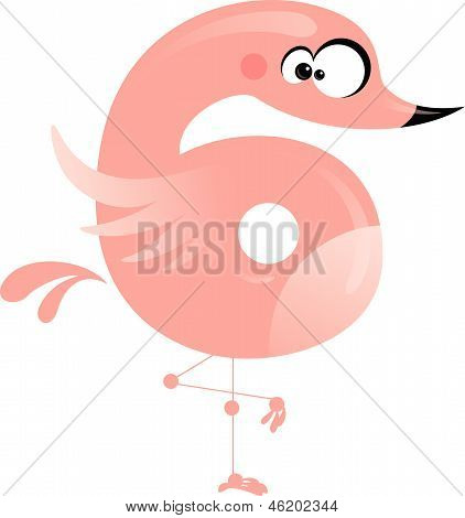 Number 6 cartoon funny pink flamingo