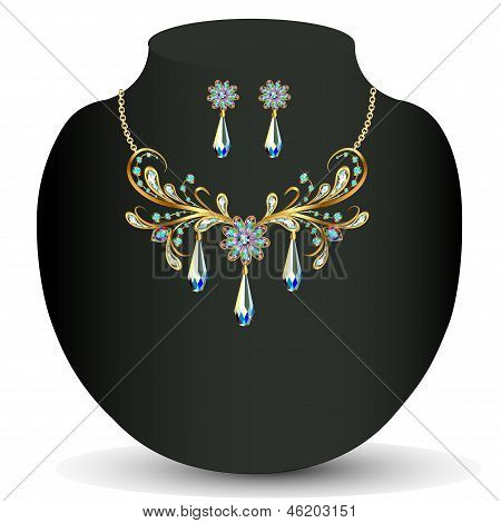 Golden Necklace And Earrings Women's Wedding