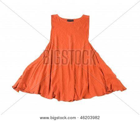 Orange Fabric Sleeveless Dress