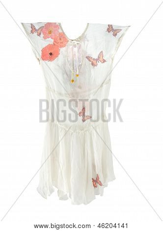 Butterflies And Flowers White Light Dress