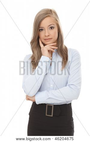 Portrait of confident blond businesswoman.