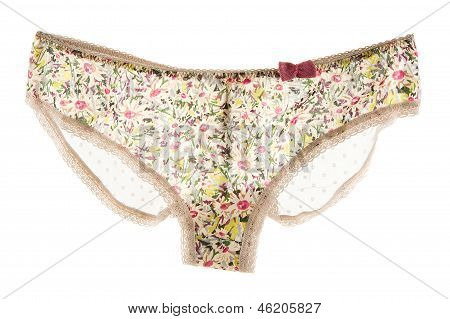 Pink Bow Flowery White Lacework Cute Panties