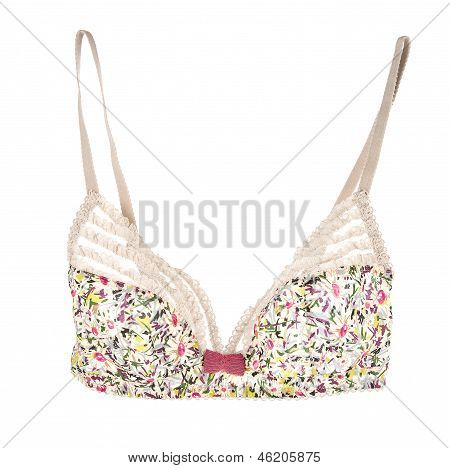 Pink Bow Frilly Flowery White Lacework Cute Bra