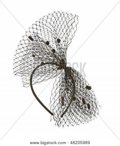 Black Net Headband With Little Pom Poms
