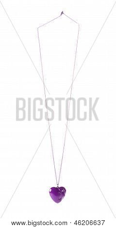 Purple Heart Pendant On Purple Chain