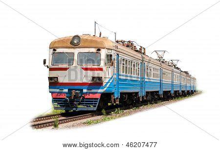 Elektrische s-Bahn auf weißem Hintergrund